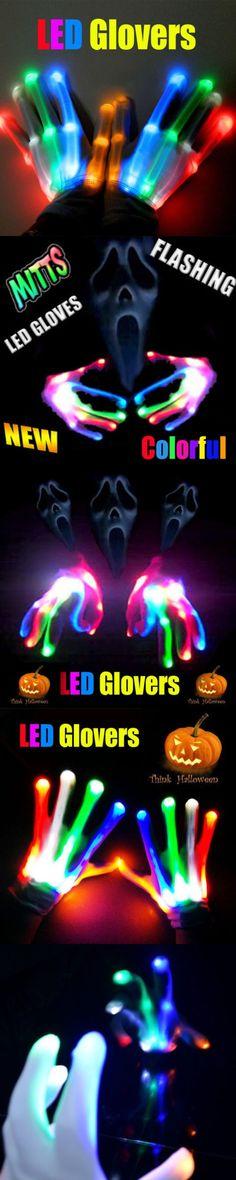 hirigin 2017 Newest Arrivals LED Light Gloves Finger Lighting Electro Rave Party Dance Skeleton Halloween