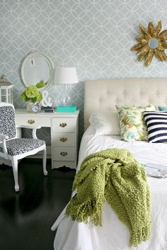 Lime and navy bedroom
