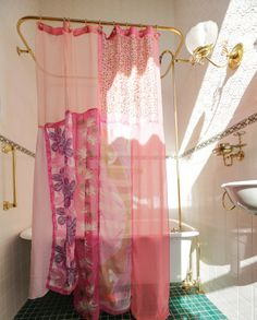 Light Pink Shower Curtain Feminine Floral Shabby Chic
