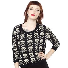 ECHO SKULL SWEATER This loose fit sweater is easy to throw on for all your Fall adventures! Featuring a slouchy comfortable fit, this sweater has all over skull crossbones and would go great over your favorite tank or tee! $40.00 #sweater #skulls
