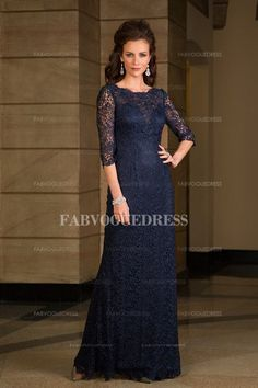 Sheath/Column Jewel Floor-length Lace Mother Of The Bride Dress