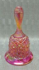 "FENTON Pink Carnival Glass Daisy & Button Bell Iridescent 6"" Tall Vintage #KK"