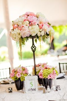 Beautiful Blooms - Wrought Iron Stand with Pink & White Peonies, Hydrangea, Spray Roses