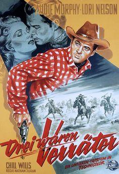TUMBLEWEED (1954) - Audie Murphy - Lori Nelson - Chill Wills - Universal-International - German movie poster.