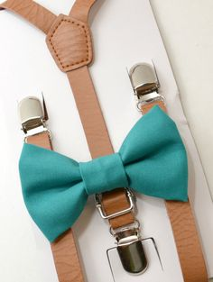 SET Kids Teen Toddler Baby Boys Boy Brown Pu Leather Suspenders & turquoise Teal Cotton Clip on Bow Tie Bowtie Wedding