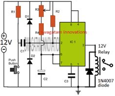 simple adjustable IC 555 timer circuit with relay switching