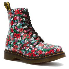 NWB Dr. Martens pascal poppy floral boot Brand new in box! Really fun, gorgeous print. These are marked size 7/ EU 38 but I think they would best fit a 7.5-8. They leather on these is thinner than on other docs I have which should make the break in period a lot faster and less painful. No trades! Dr. Martens Shoes Combat & Moto Boots