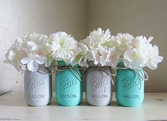 Baby Teal and Gray Distressed Mason Jars. Baby by MyHeartByHand