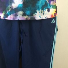 NEWAdidas classic 3 stripe pants Adidas classic 3 stripe pants in navy/aqua. Drawstring elastic waistband. Size in L. Fitness tank available in a separate listing. Not interested in trades. Adidas Pants Track Pants & Joggers