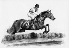 Koń wyścigowy w skoku.