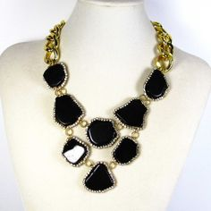 Statement jewelry black turquoise necklace vintage accessory onyx gold... ($225) ❤ liked on Polyvore