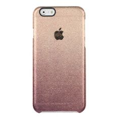 Rose Gold Ombre Glitter Sand Look Pink Uncommon Clearly™ Deflector iPhone 6 Case