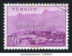 TURKEY - CIRCA 1959: stamp printed by Turkey, shows Turkish city, Hakkari, circa 1959. - stock photo
