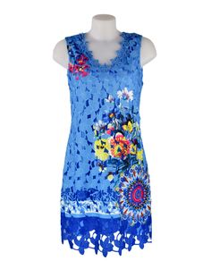 101 Idees Blue & Yellow Floral Dress £39.99 This bright blue lace dress from 101 Idees will make you stand out in the crowd this season. With it's flattering scalloped v neckline & hem, gorgeous floral all over print.