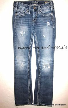 bffa1d0e SILVER AIKO BOOTCUT Jeans Womens 25 x 33 Low Rise Boot Cut RIPPED  Distressed #SilverJeans