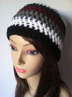 Crochet Semi Slouch Beanie  Maroon Grey  White & by ScarletsCorner, $20.00