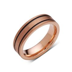 Rose Gold Tungsten Wedding Band - Black Grooves - Pipe Cut - Brushed Rose Gold Tungsten Ring - 6mm - Mens Ring - Tungsten Carbide - Comfort Fit