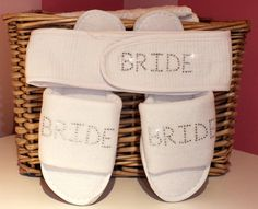 Personalised Slipper & Headband Spa set - Rhinestone Crystals - Wedding gift, Hen Party Bride Bridesmaid