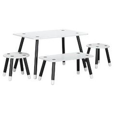 This table offers a fresh twist to kids' classic activity table set finished in non-toxic black legs that have the effect of being dipped in white. Alone, or with friends, your child will stay busy on their next work of art with this table that includes 2 stools and a bench. Like all Little Seeds products, this purchase helps support a major environmental initiative. Discover how this can help you and your child involve your community in habitat rebuilding. Expand your collection by mixin...