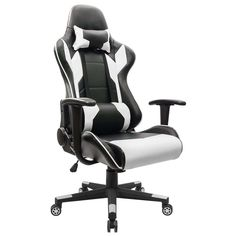 Homall Gaming Chair Racing Style High-back PU Leather Office Chair Computer Desk Chair Executive and Ergonomic Style Swivel Chair with Headrest and Lumbar Support (White) Luxury Office Chairs, Cheap Office Chairs, Luxury Chairs, Cheap Chairs, Cool Chairs, High Back Office Chair, Best Office Chair, Most Comfortable Office Chair, Leather Chair With Ottoman
