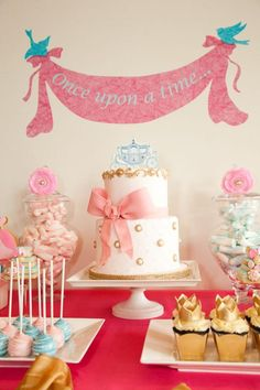 Love this gorgeous Cinderella cake from a Cinderella Princess Party found via Kara's Party Ideas | KarasPartyIdeas.com