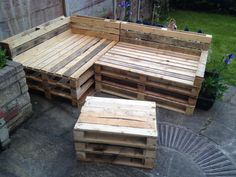 My first effort of pallet furniture. Just need a few more pallets to make another small table/stool or two and finish up a few bits. Coat of clear lacquer then and find some cushions. Small Tables, Pallet Furniture, Pallets, Effort, Stool, It Is Finished, Cushions, Woodworking, Coat