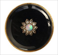 1890s Opal, Rose Cut Diamond, and Onyx Brooch, 14K (in the online store)  Also, check out the back of this brooch. With gold at record highs, you really can't imagine a jeweler decorating the back of something in solid gold anymore.