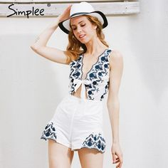 bb7481d021 Simplee Elegant v neck floral embroidery jumpsuit romper women Sexy cut out sleeveless  playsuits Summer beach overalls leotard-in Rompers from Women s ...