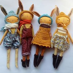 Humble Toys by Anwen Sutherland || It looks like it might be a chilly Easter here in ontario. .. who knows but these golden bunnies will brighten it up anyways. ... #clothdoll #handmadedoll #handmade #rabbitdoll #gold #humbledoll