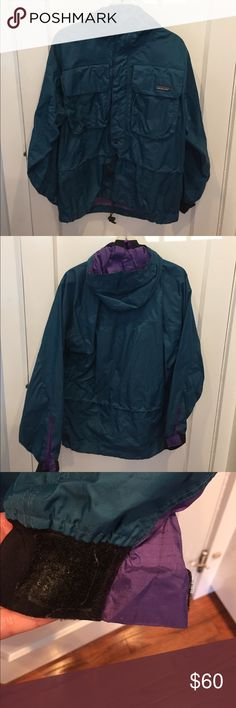 Patagonia Women's Paddling Boating Jacket Great for kayaking, boating, canoeing, water sports. Has small problem with Velcro on one sleeve - spot melted but still works fine - see 3rd picture. Two chest pockets, drawstring waist, drawstring bottom, fully mesh lined, drawstring hood. Patagonia Jackets & Coats Utility Jackets