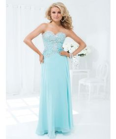 """Prom Dress 2014 Collection- Chiffon empire waist gown with """"V"""" front and back neckline, 114531"""
