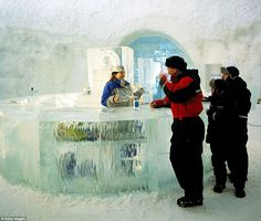 The hotel, which is made entirely of snow and ice, is located 200km north of the Arctic Ci...