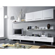 Casarredo Obývací stěna MONICA bílá Floating Shelves, Flat Screen, Loft, Bed, Furniture, Design, Home Decor, Blood Plasma, Decoration Home
