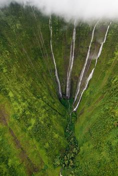"""Helicopter view from 2000 ft. ~ High Waterfalls, Big Island of Hawaii """"Helicopter view from 2000 ft. ~ High Waterfalls, Big Island of Hawaii"""" Beautiful Waterfalls, Beautiful Landscapes, Oahu, Places To Travel, Places To See, Travel Destinations, Places Around The World, Around The Worlds, Les Cascades"""