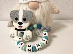 Personalisierter Beissring Hund Grau Feathers, Dog, Rings, Gray