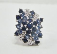 925-STERLING-SILVER-CREATED-BLUE-SAPPHIRE-CLUSTER-RING-6-6g-SIZE-5