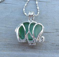 Light Green Sea Glass Elephant Locket by WaveofLife on Etsy, $18.00