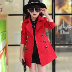 Buy Girls Spring Trench Coats Fashion Children's Jacket Sweater Teen Girl Years Children Parka Outerwear at Wish - Shopping Made Fun Girls Trench Coat, Trench Coat Style, Trench Jacket, Sweater Jacket, Trench Coats, Fashion Kids, Baby Girl Fashion, Girls Pageant Dresses, Double Breasted Trench Coat