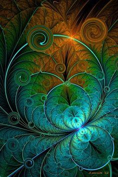 Une CONCEPTION FLORALE grâce à l'art digital et fractal ! Une Feuille qui fait NAÎTRE DES COULEURS DIVINES ...!:
