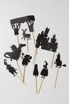 Imaginations continue to be enriched even after bedtime with French toymaker Moulin Roty¿s Shadow Puppets. Kit contains nine beautifully designed shadow puppets: princess, king, prince, donkey, fairy, forest, dragon, witch and castle.