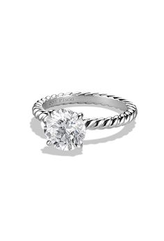 Brides.com: . Style WR1006RPL, cable solitaire engagement ring, price upon request, David Yurman