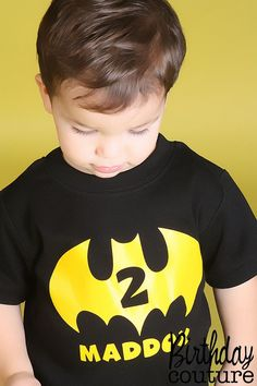 Batman Inspired Birthday Number T-shirt - Personalized Superhero Birthday Shirt - Can be customized for any age. on Etsy, $25.00