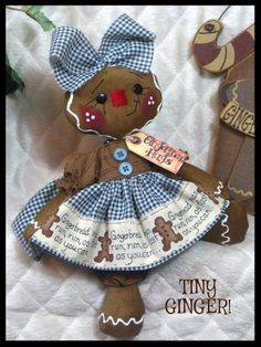 "Primitive Raggedy New 10"" ""Tiny Ginger"" Tiny Gingerbread Doll 
