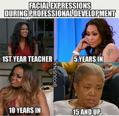 Yep. This is entirely too accurate. Teachers who have been around a while LOATHE PD meetings.