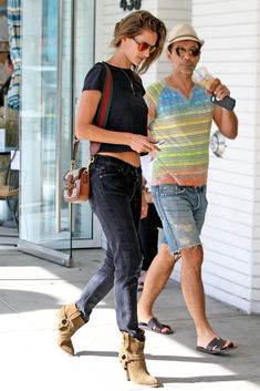 Alessandra Ambrosio wearing Isabel Marant Rawson Ankle Boots, Gucci Lady Web Bags, Westward Leaning Concorde 10 Sunglasses and BaubleBar X Ale by Alessandra Ambrosio Necklace