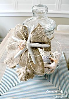 Darling beach memory jar... with a burlap ribbon.