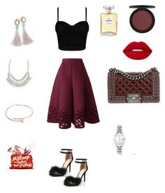 """Night out"" by itaayu on Polyvore featuring Chanel, ALDO, Cartier, Rolex, Lime Crime and ULTA"