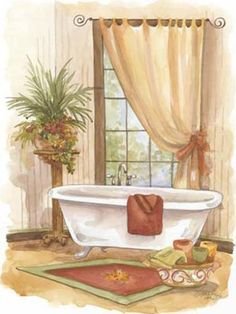 Watercolor Bath In Spice II Art Print Poster by Jerianne Van Dijk Online On Sale at Wall Art Store – Posters-Print.com