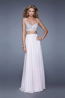 A-Line/Princess Spaghetti Straps Floor-length Chiffon Prom Dress
