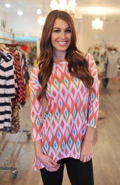 Dottie Couture Boutique - Pastel Ikat Tunic, $22.00 (http://www.dottiecouture.com/pastel-ikat-tunic/)